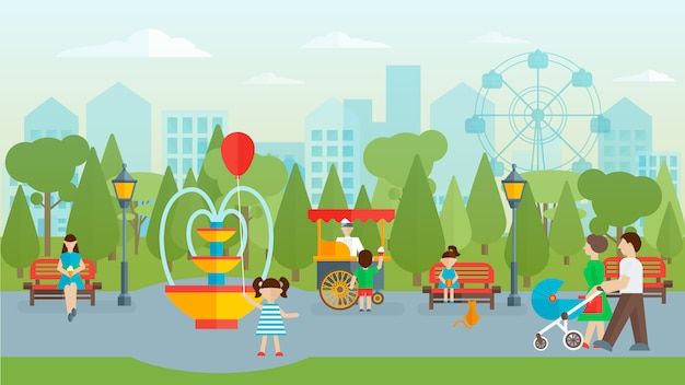 Parque da cidade com pessoas design plano