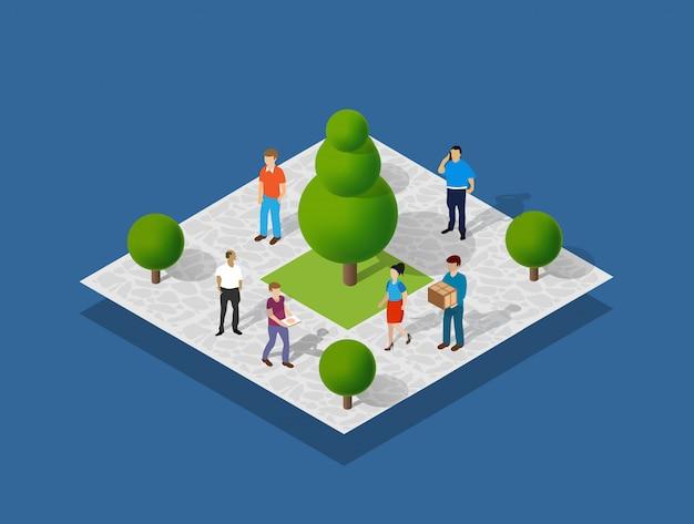 Parque da cidade com pessoas e árvores