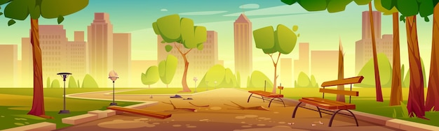 Parque da cidade destruído com bancos e caminho quebrados
