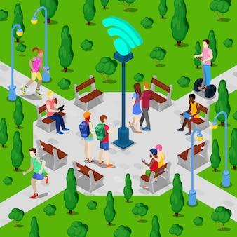 Parque da cidade isométrico com ponto de acesso wi-fi. pessoas ativas que usam a conexão de internet sem fio ao ar livre. ilustração vetorial