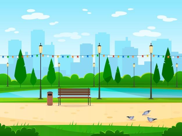 Parque da cidade. jardim público parque natural urbano relaxar paisagens lazer ao ar livre madeira verde paisagem urbana ilustração dos desenhos animados