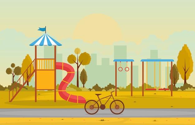 Parque da cidade no outono outono com parque infantil jogando ilustração de equipamento