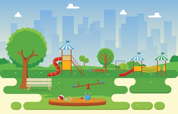 Parque da cidade no verão com kid playground jogando