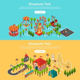 Parque de atrações 2 isométrica conjunto de banners