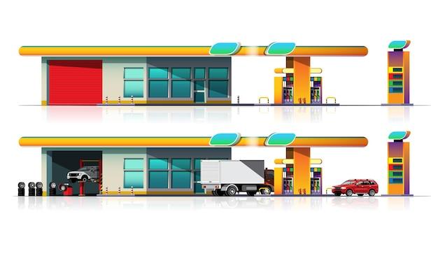 Parque de automóveis e caminhões para reabastecimento no posto de combustível e garagem