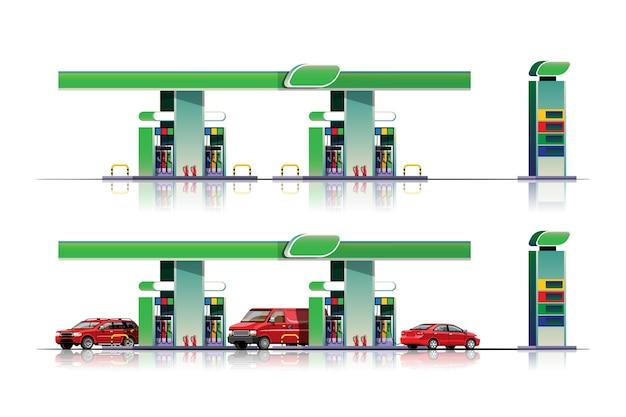 Parque de automóveis e vans para abastecer no posto de gasolina
