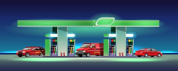 Parque de automóveis e vans para abastecer no posto de gasolina Vetor grátis