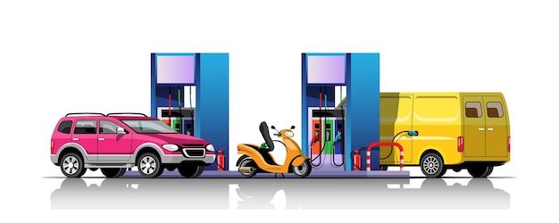 Parque de automóveis, vans e motos para reabastecimento no posto de gasolina