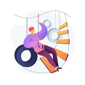 Parque de aventuras. passeio pela copa. homem com arnês e capacete de segurança. tirolesa alta, escalada em corda, escada de escalada. atividade de esporte radical.