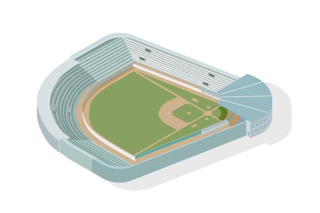 Parque de beisebol em vista isométrica