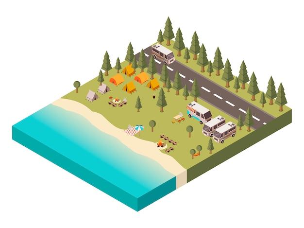 Parque de campismo com ilustração isométrica de estrada