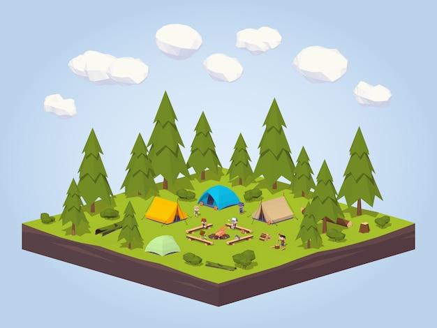 Parque de campismo na floresta.