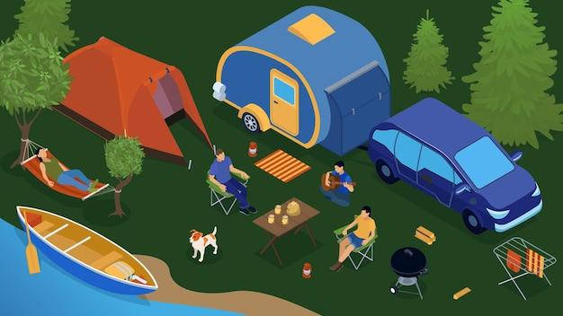 Parque de caravanas isométrico colorido