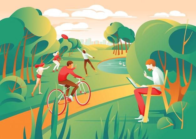 Parque de cidade de pessoas de desenhos animados jogar frisbee ride bicicleta