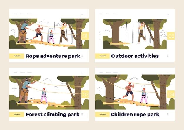 Parque de corda aventura para crianças e adultos com pessoas em parque de escalada extrema