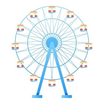 Parque de diversão roda gigante em ilustração vetorial de fundo branco.