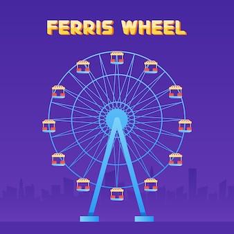 Parque de diversão roda gigante em ilustração vetorial de fundo da cidade.