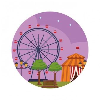 Parque de diversões à noite