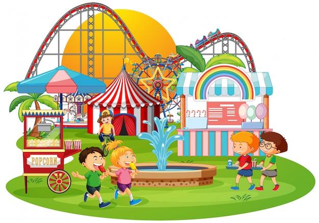 Parque de diversões ao ar livre