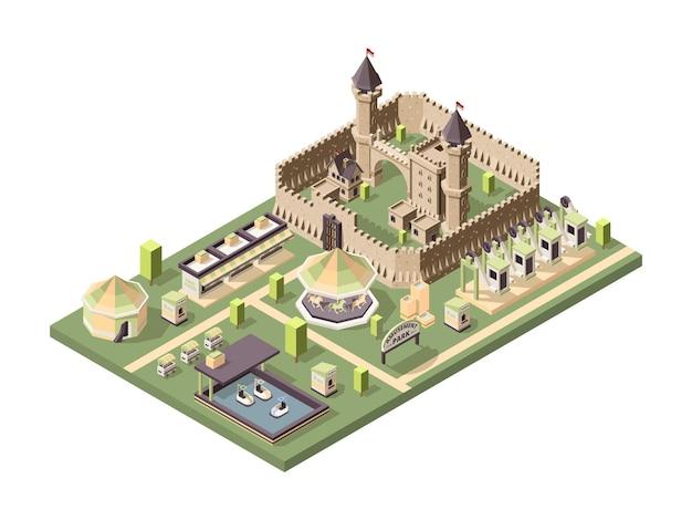Parque de diversões. atrações isométricas com a roda gigante do circo do castelo medieval e a paisagem divertida da montanha-russa.