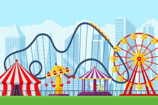 Parque de diversões, circo, carrossel, montanha-russa e atrações feira de diversões e paisagem temática de carnaval