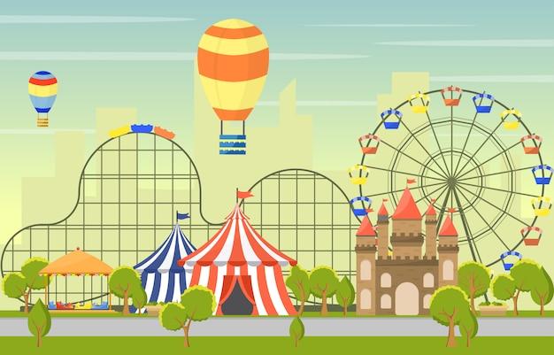 Parque de diversões circus carnaval festival fun fair paisagem ilustração