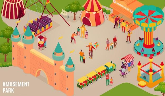 Parque de diversões com artistas de circo e visitantes carrossel castelo inflável e galeria horizontal de tiro ilustração isométrica