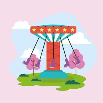 Parque de diversões com balanços na paisagem