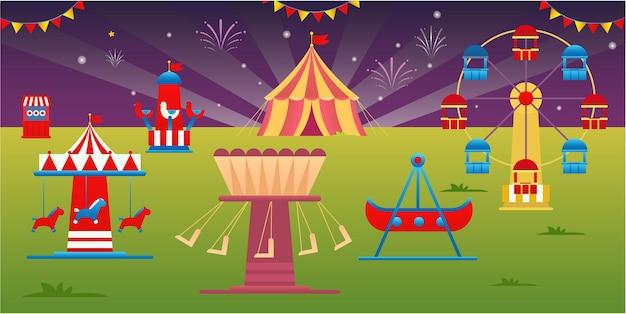 Parque de diversões com barracas e muitos outros jogos