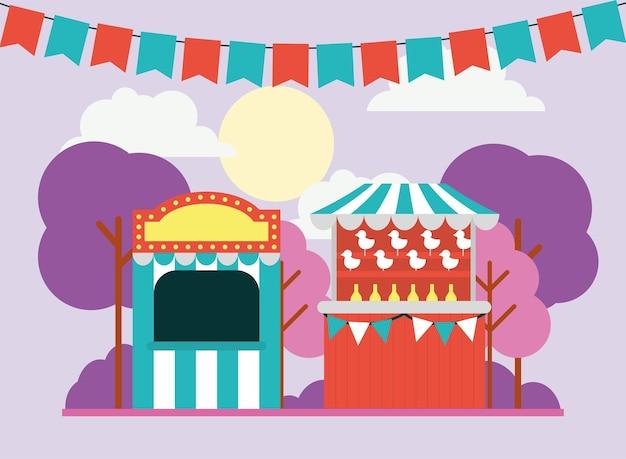 Parque de diversões com bilheteria e tenda de circo