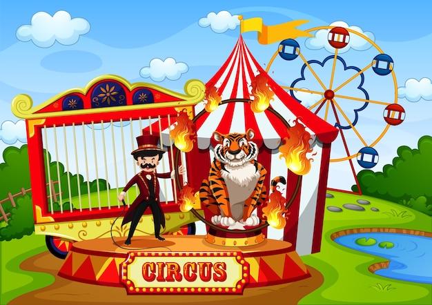 Parque de diversões com circo em cena estilo cartoon