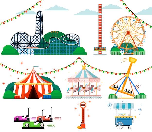 Parque de diversões com conjunto de atrações