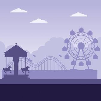 Parque de diversões com fundo roxo