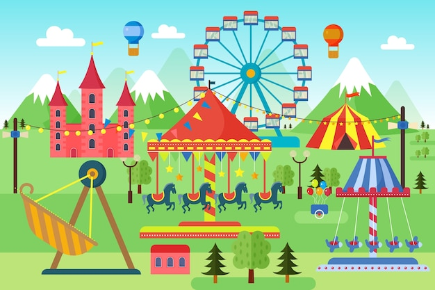 Parque de diversões com paisagem de carrosséis, montanha-russa e balões de ar