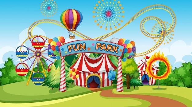 Parque de diversões com roda gigante