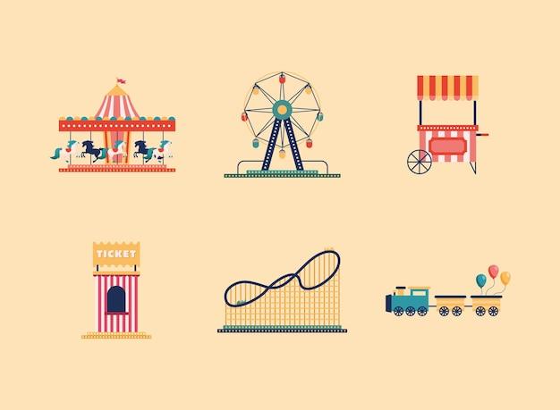 Parque de diversões com seis ícones