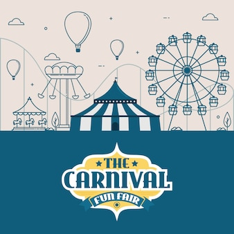 Parque de diversões com tenda, circo, carrosséis e montanha-russa