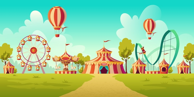 Parque de diversões com tenda de circo e carrossel