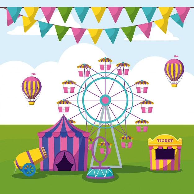 Parque de diversões com tendas circo