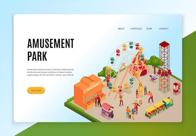Parque de diversões com visitantes durante o conceito isométrico de entretenimentos de banner web
