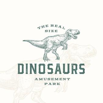 Parque de diversões de dinossauros em tamanho real abstrato sinal, símbolo ou modelo de logotipo.