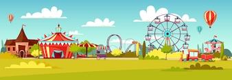 Parque de diversões de passeios de atração dos desenhos animados e tenda de circo.