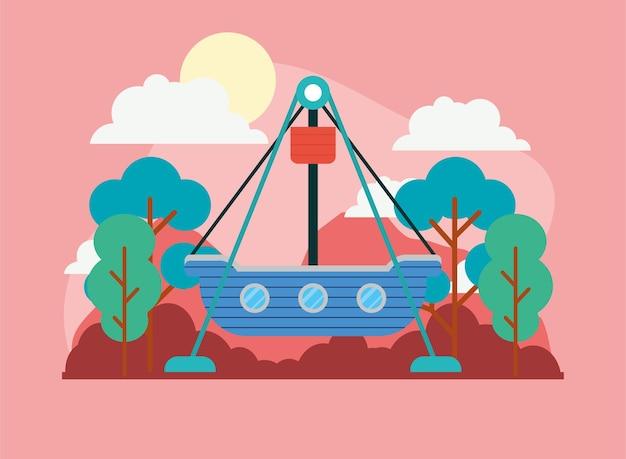 Parque de diversões divertido navio pirata