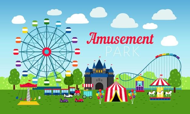 Parque de diversões e entretenimento colorido Vetor Premium