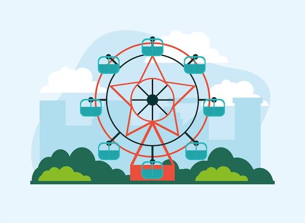 Parque de diversões girando com roda gigante