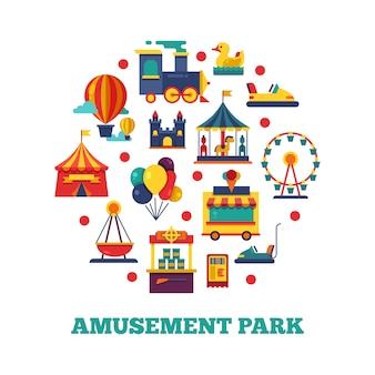 Parque de diversões ícones redondos conceito
