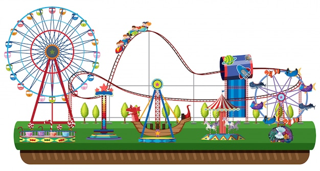 Parque de diversões no fundo branco