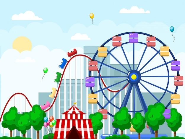 Parque de diversões, paisagem urbana com carrosséis e montanha russa