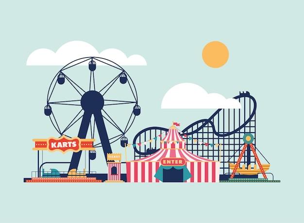 Parque de diversões panorâmico