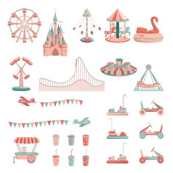 Parque de diversões passeios conjunto de ícones.